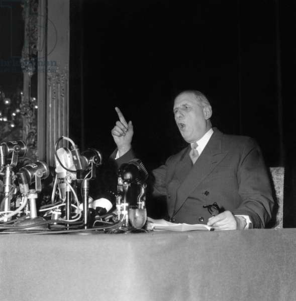 Do You Believe I Will Become A Dictator at 67 Years Old? : Speech of Charles De Gaulle during Press Conference May 19, 1958 (He Became Prime Minister Few Days Later) at The Time of War in Algeria (b/w photo)