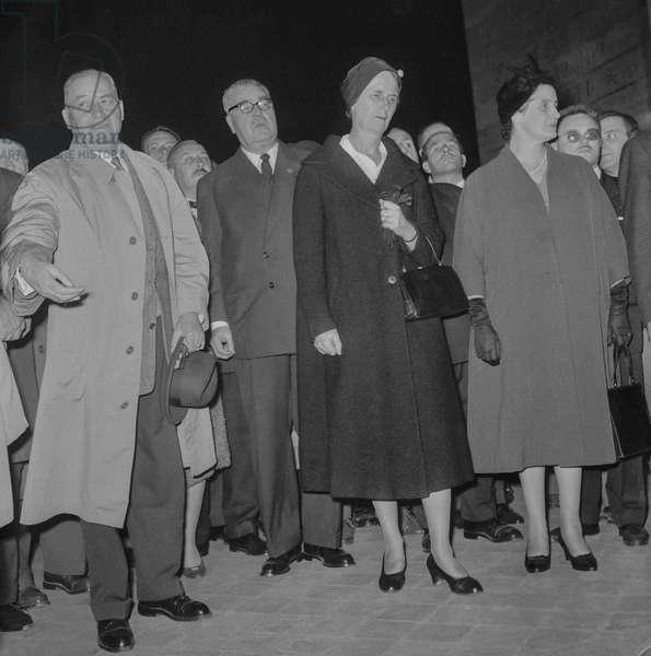 Demonstration of veterans against the Manifesto of the 121 in Paris, October 4, 1960 (Algerian war) : the French marshal Alphonse Juin, Mrs Leclerc and Mrs de Lattre de Tassigny (b/w photo)