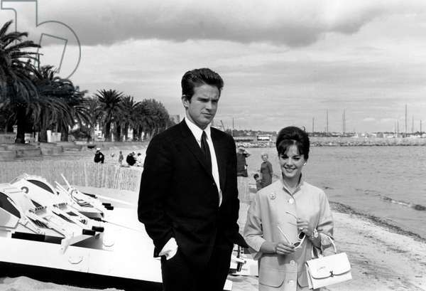 Actors Warren Beatty and Natalie Wood at Cannes Film Festival May 14, 1962 (b/w photo)