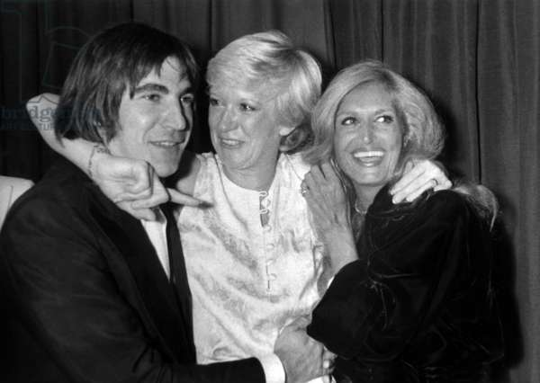 Serge Lama and Dalida Congratulating Alice Dona in her Dressing Room at The Olympia in Paris on September 21, 1979 (b/w photo)
