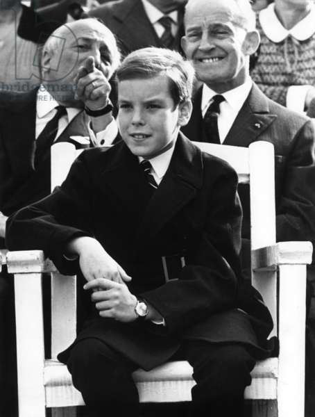 Prince Albert of Monaco (Future Albert Ii) Et Dog Exhibition in Monaco on May 2, 1969 (b/w photo)