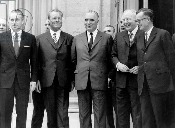 Willy Brandt, German Chancellor, With French President Georges Pompidou at Elysee Palace in Paris on January 30, 1970, on L : Jacques Chaban-Delmas (b/w photo)