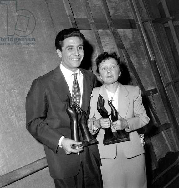 French Singers Gilbert Becaud and Edith Piaf Have Won A Prize May 15, 1956 (b/w photo)