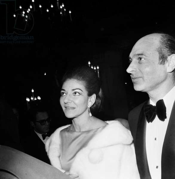 Maria Callas and Prince Alexander of Yugoslavia at Premiere of The Film Funny Girl at The Opera, Benefit Goes To Petits Lits Blancs, January 17, 1969 (b/w photo)