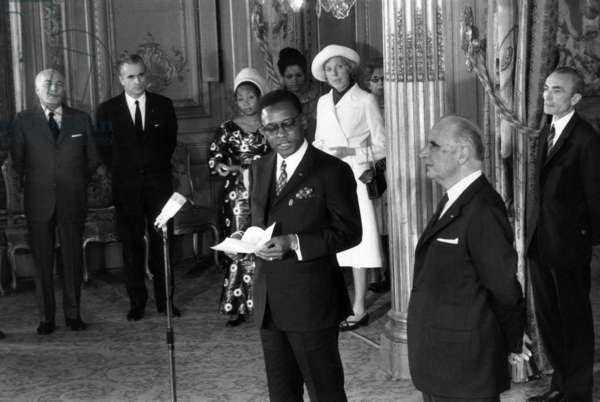 General Joseph Desire Mobutu, President of Zaire, With French President Georges Pompidou, Their Wifes, Jacques Chaban Delmas, First Minister and Achille Peretti, President of The French National Assembly, on March 29, 1971 (b/w photo)