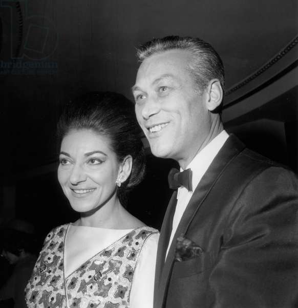 Maria Callas and Sandy Bertrand, Director of A Oarisian Theatre at Performance of Play La Puce A L'Oreille October 19, 1968 (b/w photo)