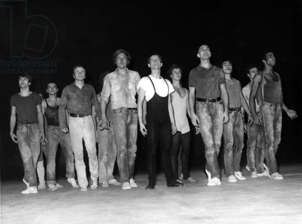 Les Dancseurs des 'Ballets Du XX Siecle' By Maurice Bejart Repetant 'Mein Kampf' November 29, 1967 At the Palais De Chaillot (b/w photo)
