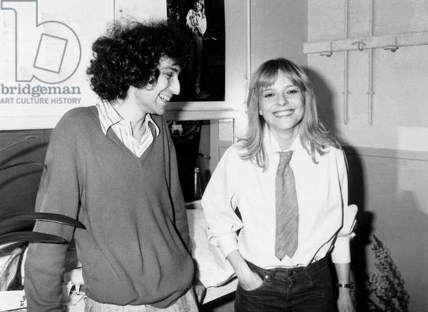 French Singers Michel Berger and France Gall in her Dressing Room Before her Show April 14 1978 (b/w photo)