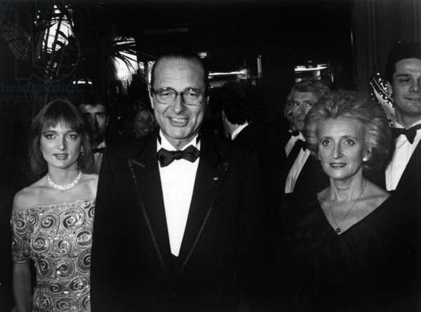 Jacques Chirac, Mayor of Paris With his Wife Bernadette and Thier Daughter Claude Arriving at A Gala For Research Against Aids November 26, 1985 (b/w photo)