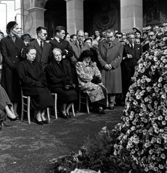 Funeral of Henri Matisse on April 9, 1954 in Nice : Seated : his Daughter Marguerite Georges Duthuit and his Wife Amelie ; Standing : his Grandsons, his Sons Pierre and Jean (Beard) and Jean Cocteau (b/w photo)