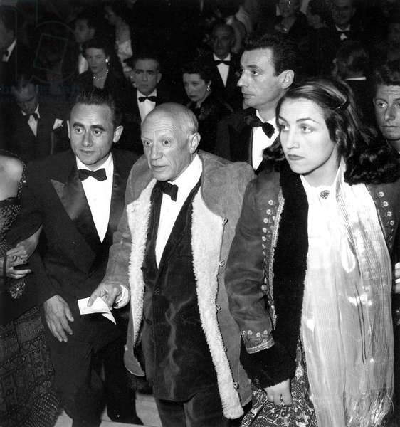 Director Henri Georges Clouzot With Artist Pablo Picasso his Companion Francoise Gilot and Actor Yves Montand at Premiere of Film The Wages of Fear at Cannes Film Festival April 16, 1953 (b/w photo)