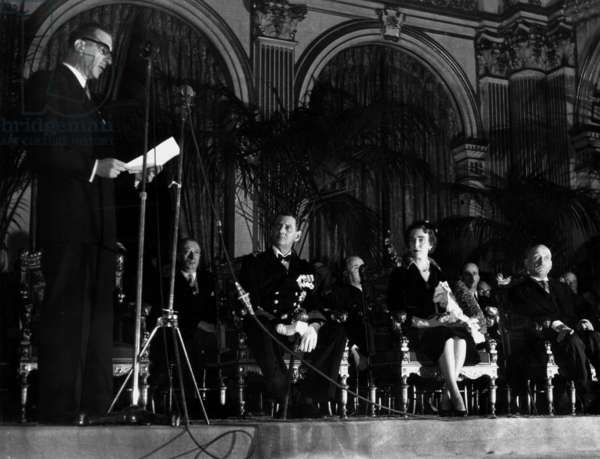 Danish Sovereigns in Paris, here at City Hall on November 29, 1950 : Pierre De Gaulle Is Speaking, King Frederic Ix of Denmark, Queen Ingrid and Robert Schuman (b/w photo)