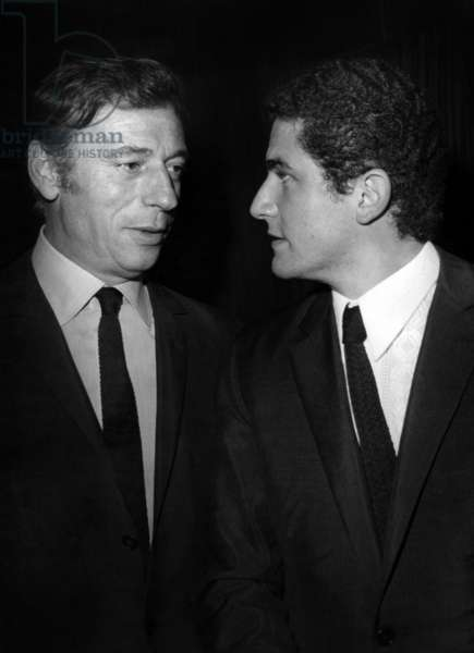 """Yves Montand And Claude Lelouch During the Recording of the """"Welcome"""" Show De Guybeart October 10, 1967 (b/w photo)"""