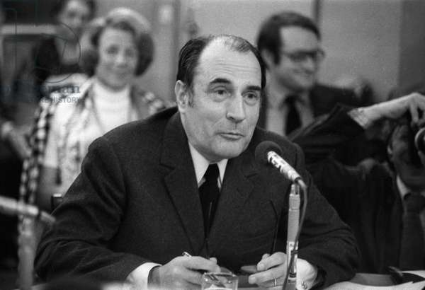Francois Mitterrand, First Secretary of the Socialist Party, during debate on radio Europe 1 about French European Economic Community enlargement referendum, Paris, April 12, 1972 (b/w photo)