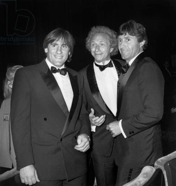 Actors Gerard Depardieu Pierre Richard With Director Francis Veber at Cannes Film Festival May 10, 1983 (b/w photo)
