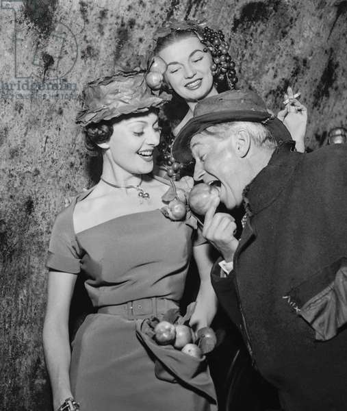 "Maurice Chevalier and Maggy Sarragne at presentation of film Ma pomme"" in Epernay, France, October 9, 1950 (b/w photo)"