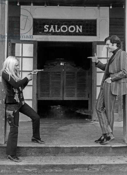 France Gall and Joe Dassin January 1968 (b/w photo)