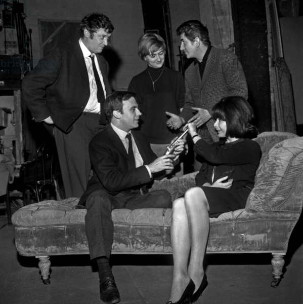 Francoise Sagan With Performers of her Play in A Prisian Theatre L-R : Michel De Re, Jean-Louis Trintignant, Francoise Sagan, Daniel Gelin and Juliette Greco on December 27, 1963 (b/w photo)