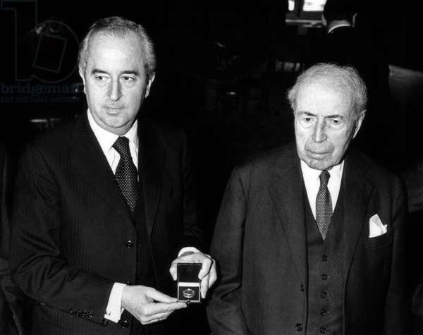 Antoine Pinay With French Minister of Economy and Finances Edouard Balladur during Presentation of The New 10 Francs Coin March 18, 1988 (b/w photo)