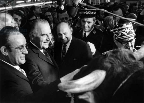 French President Georges Pompidou Visiting Military Academies here at The Ecole Militaire in Paris, March 11, 1972 (b/w photo)