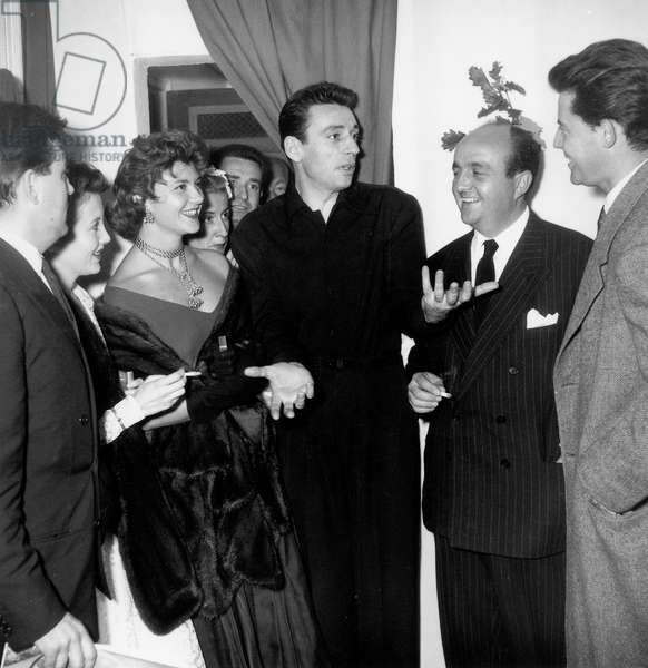 Yves Montand Congratulated After his Show By Francois Perier, Marie Daems, French Actress Sophie Desmarets (1922-2012), Bernard Blier and Gerard Philipe. Paris, October 6Th, 1953. (b/w photo)