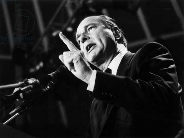 Jacques Chirac during A Speech June 4, 1984 (b/w photo)