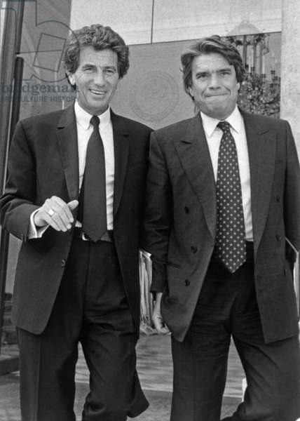 Bernard Tapie Minister Of The City And Jack Lang Minister Of Education And Culture At The Exit Of The Council Of Ministers At The Palais De L'Elysee May 13, 1992 (b/w photo)