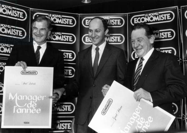 The First Minister, Laurent Fabius, With Two Laureates of The Competition of Manager of The Year 1984, Elected By A Jury and the Readers of The Magazine