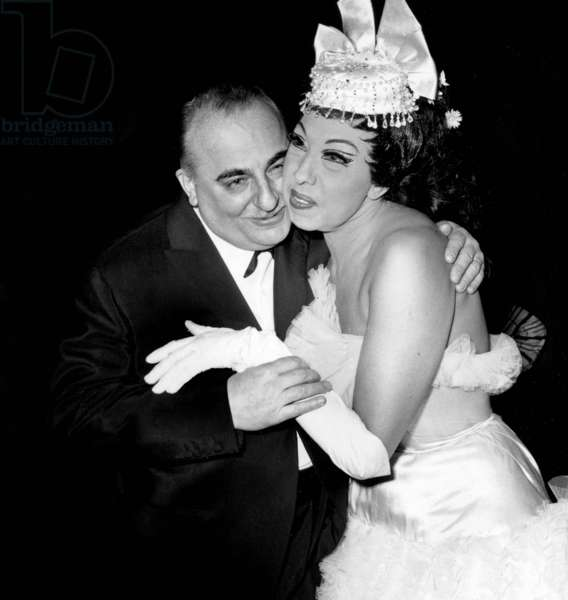 Bruno Coquatrix and Josephine Baker at Olympia in Paris April 24, 1964 (b/w photo)