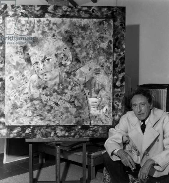 French Painter Jean Cocteau in Front of A Canvas on November 25, 1953
