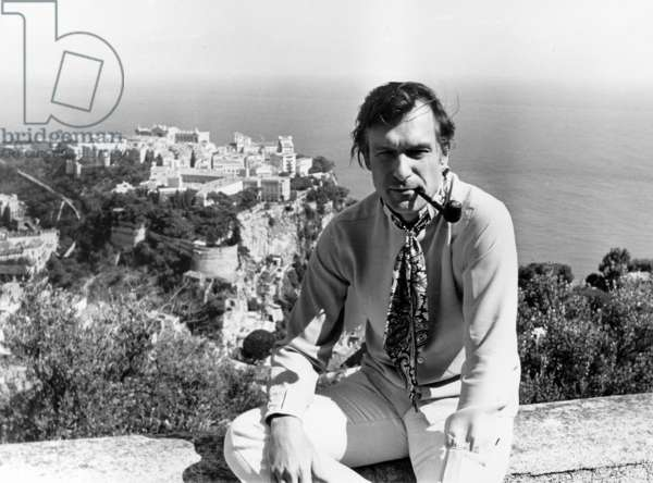 Hugh Hefner on Holidays in Monaco on August 28, 1969 (b/w photo)