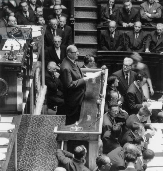 Charles De Gaulle at The Platform on June 1St, 1958 The Day of his Appointment As Head of Government (b/w photo)