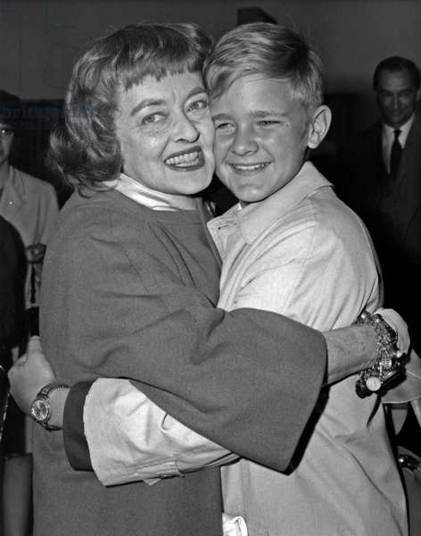 American Actress Bette Davis (1908-1989) and her Adoptive Son Michael on November 4, 1965 (b/w photo)
