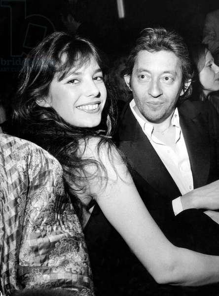 Jane Birkin and Serge Gainsbourg at Gala on February 19, 1974 (b/w photo)
