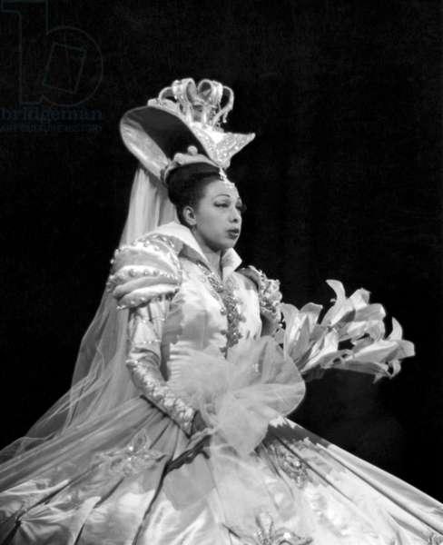 "Josephine Baker during Show ""Feeries Et Folies"" at The Folies-Bergere, Paris, February 26, 1949 (b/w photo)"