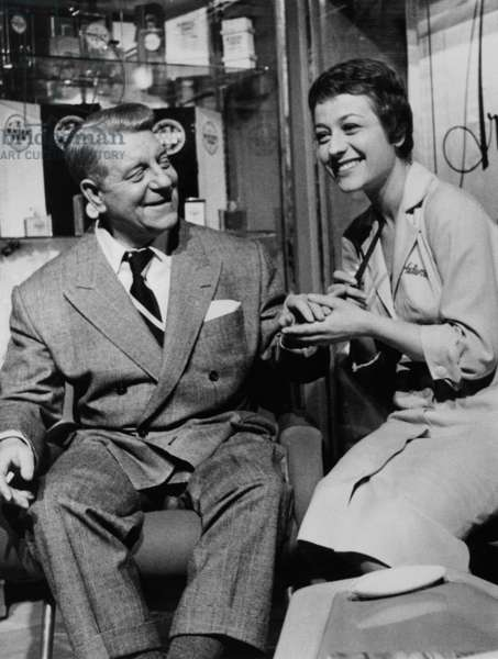 "Annie Girardot and Jean Gabin on Set of Film ""Speaking of Murder"" By Gillesgrangier January 28, 1957 (b/w photo)"