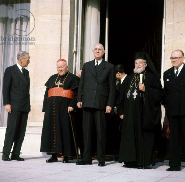 French President Charles De Gaulle With Pope Maximos Iv Saigh at Elysee Palace October 21, 1965 (photo)