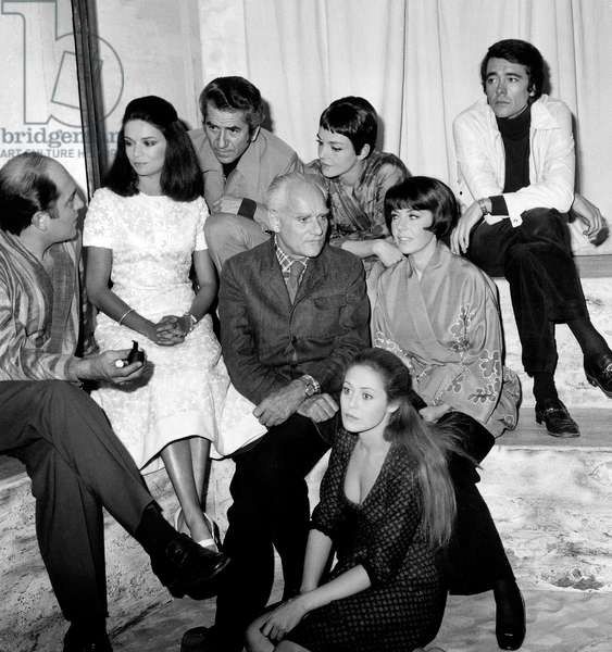 Italian Author Alberto Moravia during Rehearsal of his Play October 10, 1969 With Actors William Sabatier, Christine Delaroche, Daniel Gelin, Colette Castel, Bernard Tiphaine (b/w photo)