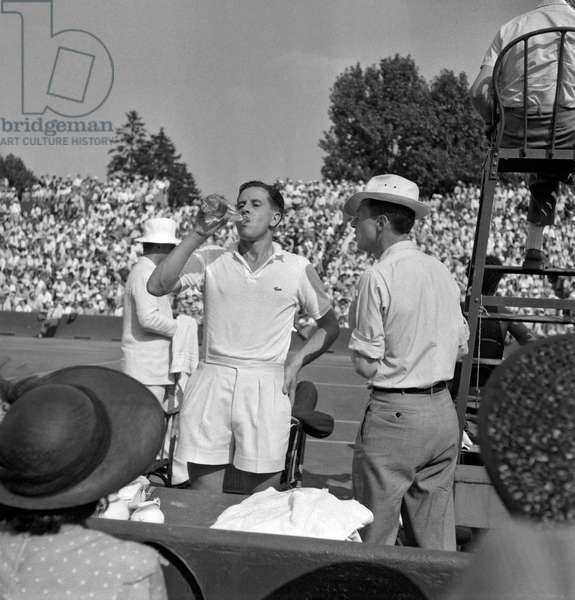 1949 Davis Cup, Final, Europe Zone, July 25, 1949 in Paris (Roland Garros) : French tennisman Marcel Bernard (b/w photo)