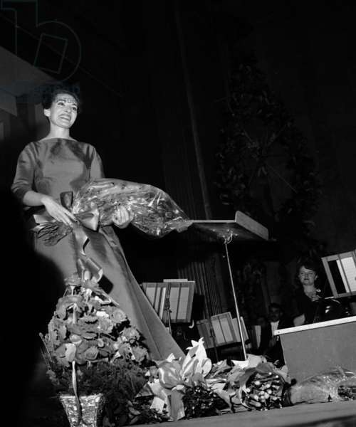 Maria Callas After A Gala at The Theatre Des Champs Elysees in Paris June 6, 1963 (b/w photo)