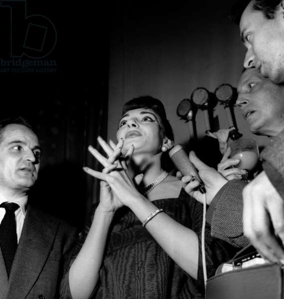 Maria Callas during Press Conference in An Hotel in Paris on December 17, 1958 (b/w photo)