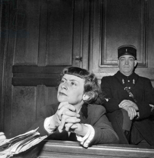 Trial of Mathilde Carre (1910-1970) Nicknamed La Chatte (The Cat) Was A French Resistance Agent during World War Ii Who Turned A Double Agent, here in January 4, 1949 (b/w photo)