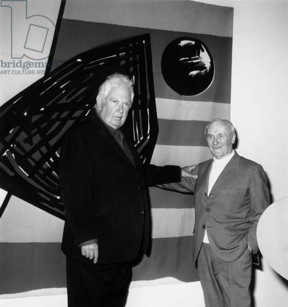 Alexander Calder and Jean Miro at The Opening of The Retrospective of Calder at The Maeght'S Foundation in Saint Paul De Vence 3Th April 1963 Neg:D7845