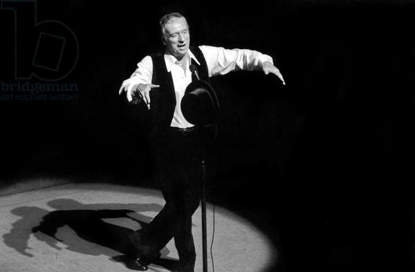 Yves Montand on Stage at Olympia October 14, 1981 (b/w photo)