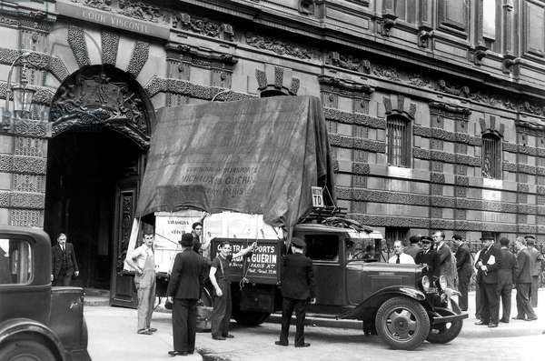 Louvre Museum in Paris Put Works of Art Safe Sheltered From The War 1939 (b/w photo)
