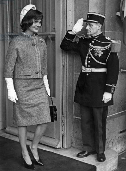 Jackie Kennedy in Paris on June 2, 1961 (Wearing Tweed Suit By Hubert De Givenchy For Ninon, Hat By Roy Halston Frowick Beret Style) (b/w photo)