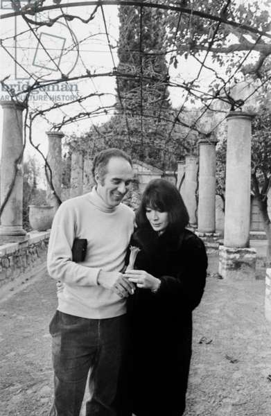 Michel Piccoli and Juliette Greco during Their Honeymoon in Saint Paul De Vence (France) in January 1967 (b/w photo)