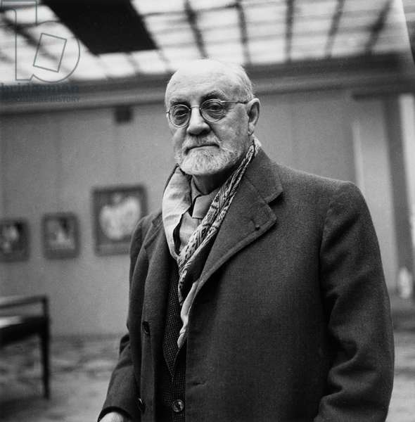 French Painter Henri Matisse (1869-1954) during Exhibition in Paris in September 1945  (b/w photo)