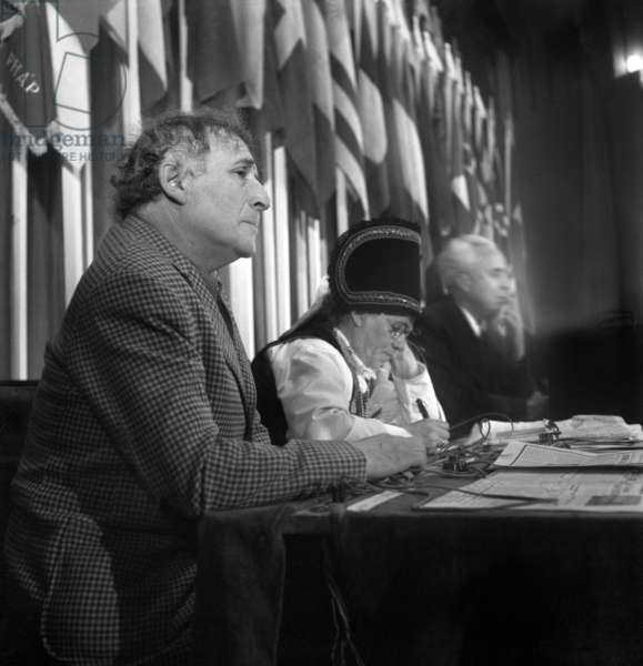 Painter Marc Chagall at the World Peace Council, Paris, 23 April 1949 (b/w photo)