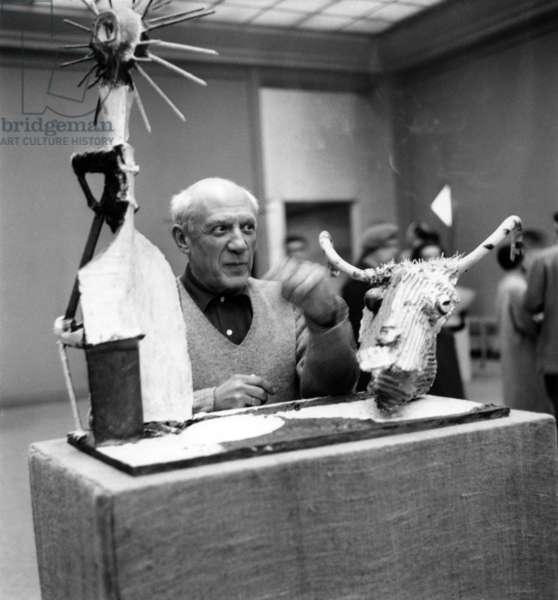 Pablo Picasso near his sculpture 'Goat with Bottle', May 7th 1953 (b/w photo)